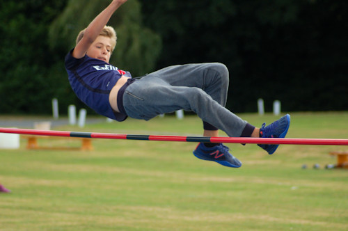 Alex clears the high jump bar