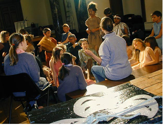 A play rehearsal at Moffats School